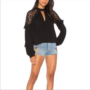 Free People lace cold shoulder top